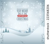 christmas background with retro ... | Shutterstock .eps vector #223568206