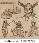 pirates  buccaneers and sailors ... | Shutterstock .eps vector #223571263