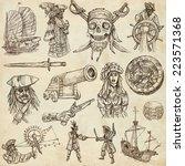 pirates  buccaneers and sailors ...   Shutterstock . vector #223571368