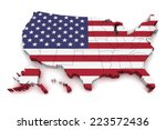 3d map of united states of... | Shutterstock . vector #223572436