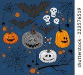 halloween set vector. funny... | Shutterstock .eps vector #223576519