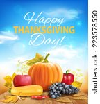 happy thanksgiving background.... | Shutterstock .eps vector #223578550