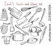 cook's tools and items set.... | Shutterstock .eps vector #223582504