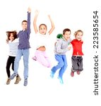 little kids jumping isolated in ... | Shutterstock . vector #223585654