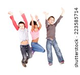 little kids jumping isolated in ... | Shutterstock . vector #223585714
