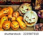 smiling jack o lantern. close... | Shutterstock . vector #223587310