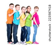 group of happy children in... | Shutterstock . vector #223587418