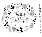 doodle christmas wreath with... | Shutterstock .eps vector #223590520