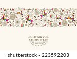 vintage christmas elements ... | Shutterstock .eps vector #223592203