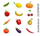 vector set of fruits and... | Shutterstock .eps vector #223598950