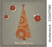 christmas tree and ornaments on ... | Shutterstock .eps vector #223607080