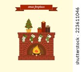 xmas fireplaces. flat style...   Shutterstock .eps vector #223611046