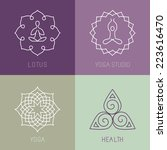vector yoga icons and round... | Shutterstock .eps vector #223616470