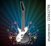 background with electric guitar.... | Shutterstock . vector #223622758