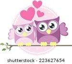 cute couple of loving owls... | Shutterstock .eps vector #223627654