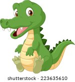 cute cartoon crocodile   Shutterstock . vector #223635610