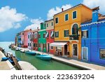 burano island canal  colorful... | Shutterstock . vector #223639204