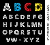 mosaic puzzle alphabet trendy... | Shutterstock .eps vector #223641208