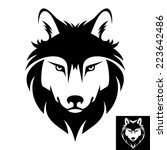 wolf head icon in black and... | Shutterstock .eps vector #223642486