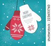 christmas card  knitted mittens ... | Shutterstock .eps vector #223653760