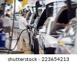 work at big car factory industry | Shutterstock . vector #223654213