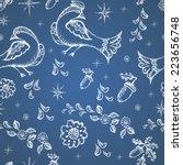 autumn birds. seamless pattern ... | Shutterstock . vector #223656748