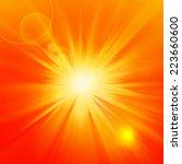 sun orange rays and yellow... | Shutterstock . vector #223660600