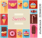 frame with colorful various... | Shutterstock .eps vector #223668130