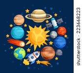 background of solar system ... | Shutterstock .eps vector #223668223