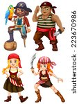 illustration of many pirate... | Shutterstock .eps vector #223670986