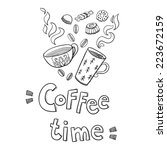 coffee time print   Shutterstock .eps vector #223672159