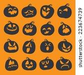 set pumpkins for halloween  | Shutterstock .eps vector #223674739