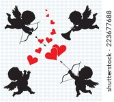 cupid angels. silhouette of...