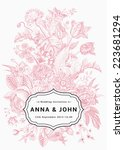 vertical wedding invitation.... | Shutterstock .eps vector #223681294