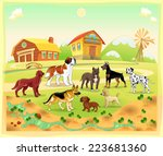 landscape with group of dogs....