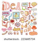 idea and finance icons doodle...   Shutterstock .eps vector #223685734