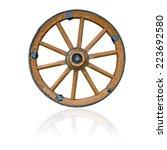Wooden Wheel On White Background
