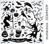 black and white halloween set....   Shutterstock .eps vector #223694239