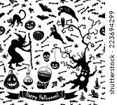 black and white halloween... | Shutterstock .eps vector #223694299