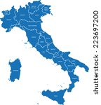 italy map | Shutterstock .eps vector #223697200