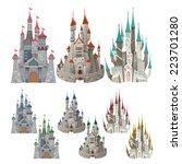 set of medieval castles in...   Shutterstock .eps vector #223701280