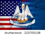 waving usa and louisiana state... | Shutterstock . vector #223705138