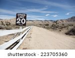 speed limit sign on empty... | Shutterstock . vector #223705360
