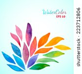 raonbow colorful watercolor... | Shutterstock .eps vector #223712806