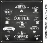 set of vintage retro coffee... | Shutterstock .eps vector #223717198