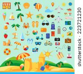 beach holiday  icon set flat... | Shutterstock .eps vector #223721230