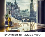 Stock photo view at evening amsterdam from luxury restaurant 223737490