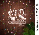 christmas card with typography... | Shutterstock .eps vector #223739128