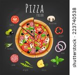pizza and ingredients for pizza ... | Shutterstock .eps vector #223740538