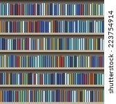 background of library book shelf | Shutterstock .eps vector #223754914